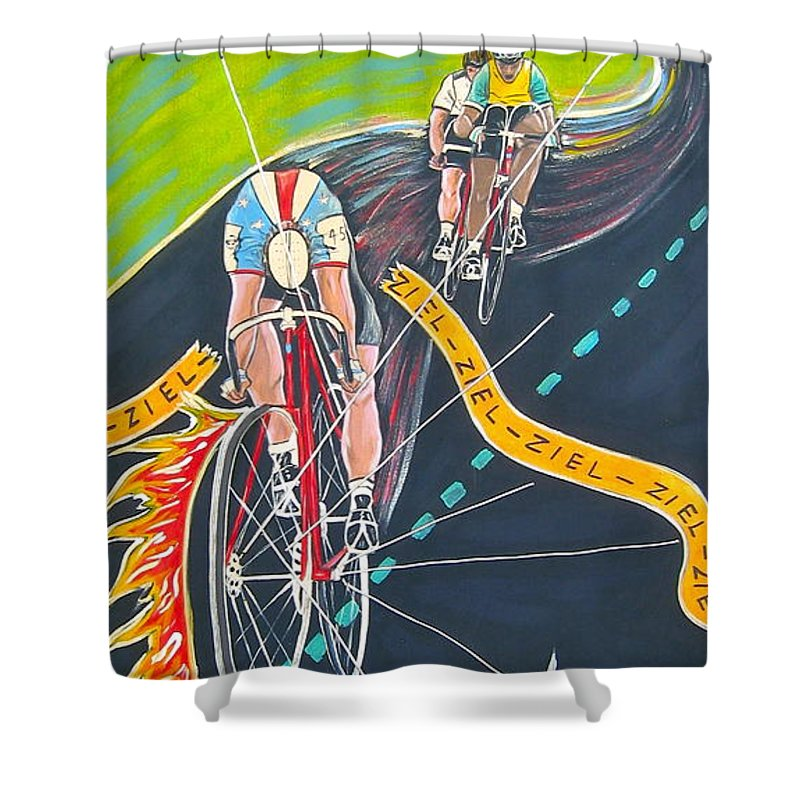 Biking Shower Curtain featuring the painting Ziel by V Boge