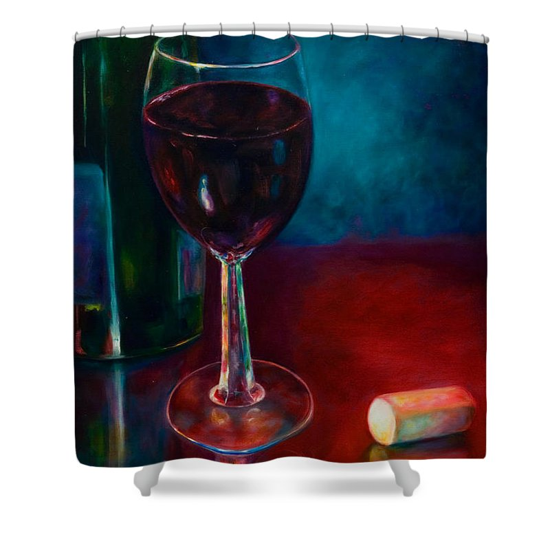 Wine Bottle Shower Curtain featuring the painting Zinfandel by Shannon Grissom