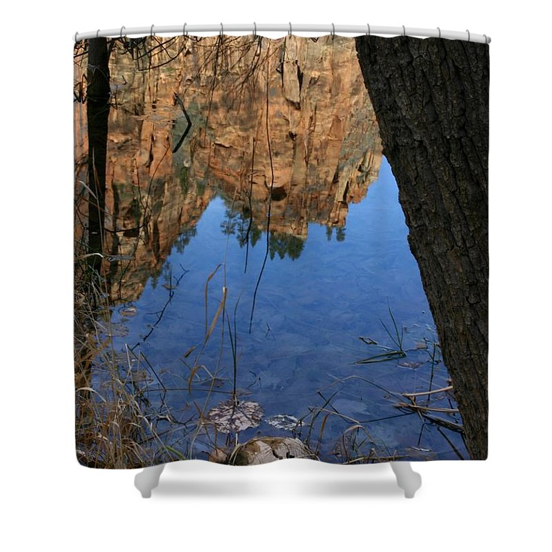 Zion Shower Curtain featuring the photograph Zion Reflections by Nelson Strong