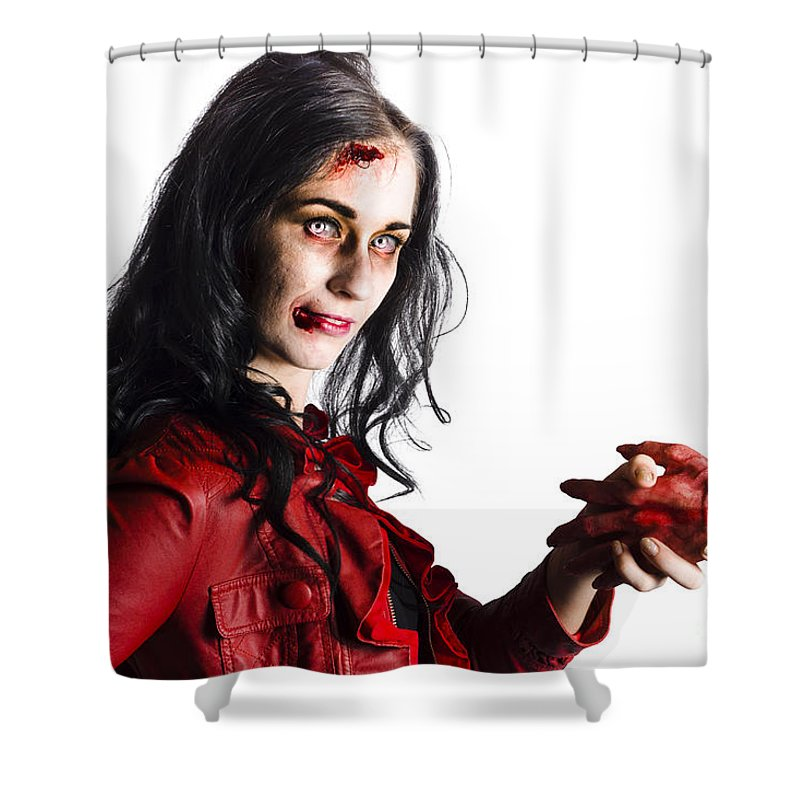 Accident Shower Curtain featuring the photograph Zombie Shaking Severed Hand by Jorgo Photography - Wall Art Gallery