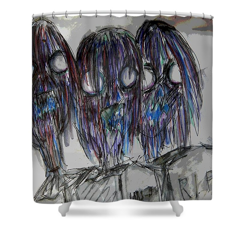 Zombie Shower Curtain featuring the drawing Zombie Trio by Mimulux patricia No