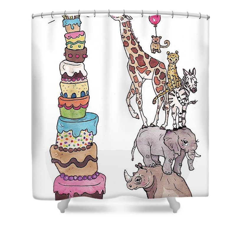 Zoo Animals Happy Birthday Card Shower Curtain For Sale By Katrina Davis