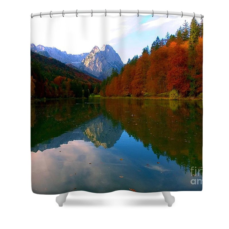 Mountains Shower Curtain featuring the photograph Zugspitz And Riessersee Garmish Germany by Randy Matthews