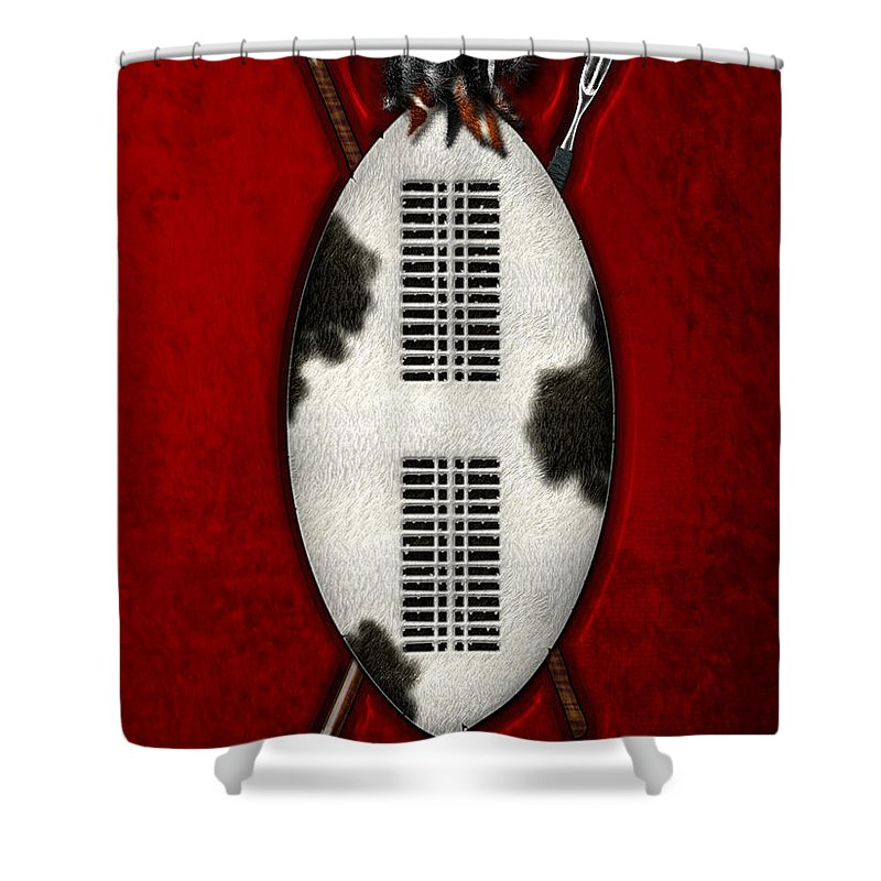 War Shields By Serge Averbukh Shower Curtain featuring the photograph Zulu War Shield with Spear and Club by Serge Averbukh