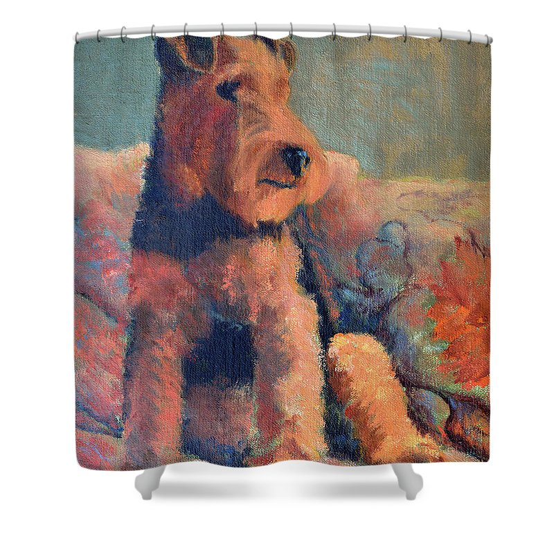 Pet Shower Curtain featuring the painting Zuzu by Keith Burgess