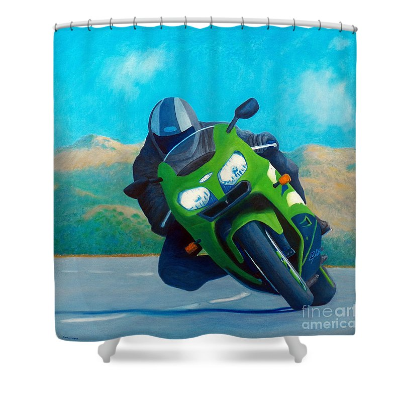 Motorcycle Shower Curtain featuring the painting Zx9 - California Dreaming by Brian Commerford