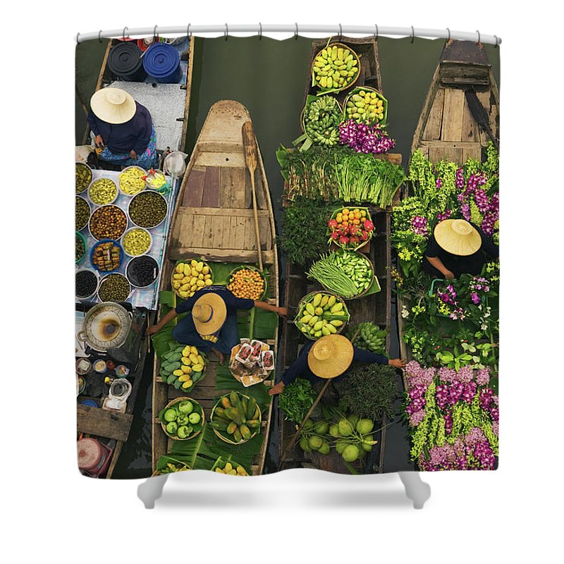 People Shower Curtain featuring the photograph A Floating Market On A Canal In by Mint Images - Art Wolfe