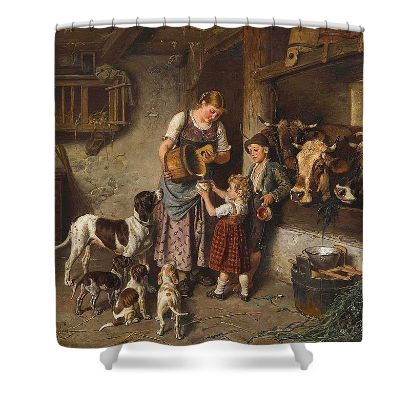 Milk Shower Curtain featuring the painting Adolf Eberle Fresh Milk by Celestial Images