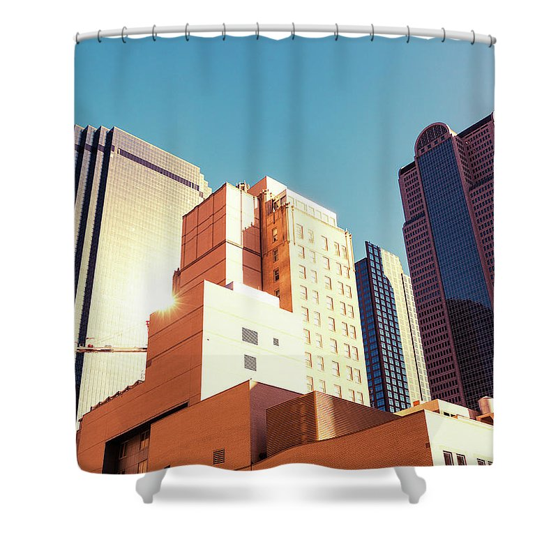 Financial Building Shower Curtain featuring the photograph Architecture, Dallas Financial District by Moreiso