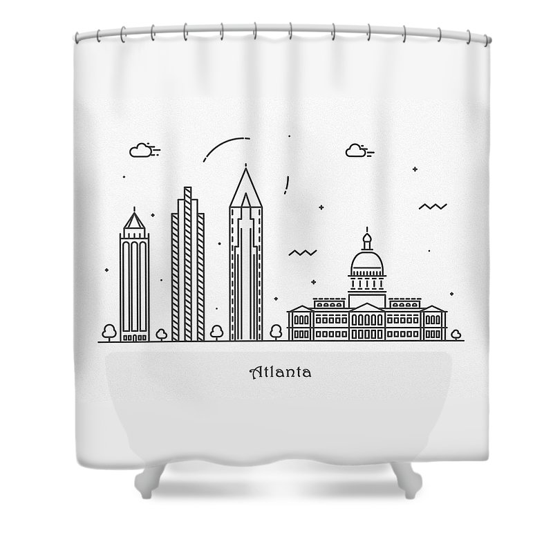 Atlanta Shower Curtain featuring the drawing Astana Cityscape Travel Poster by Inspirowl Design