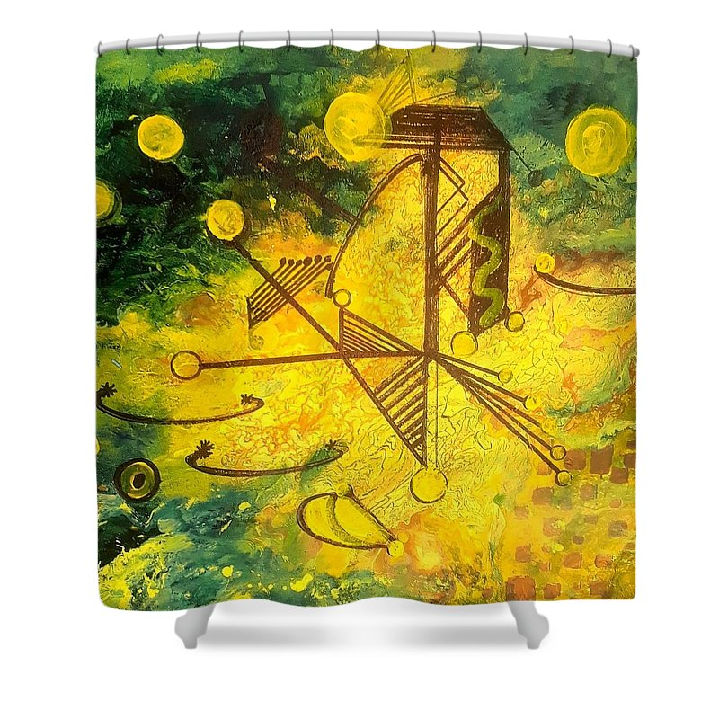 Shower Curtain featuring the painting Balancing by Carol P Kingsley