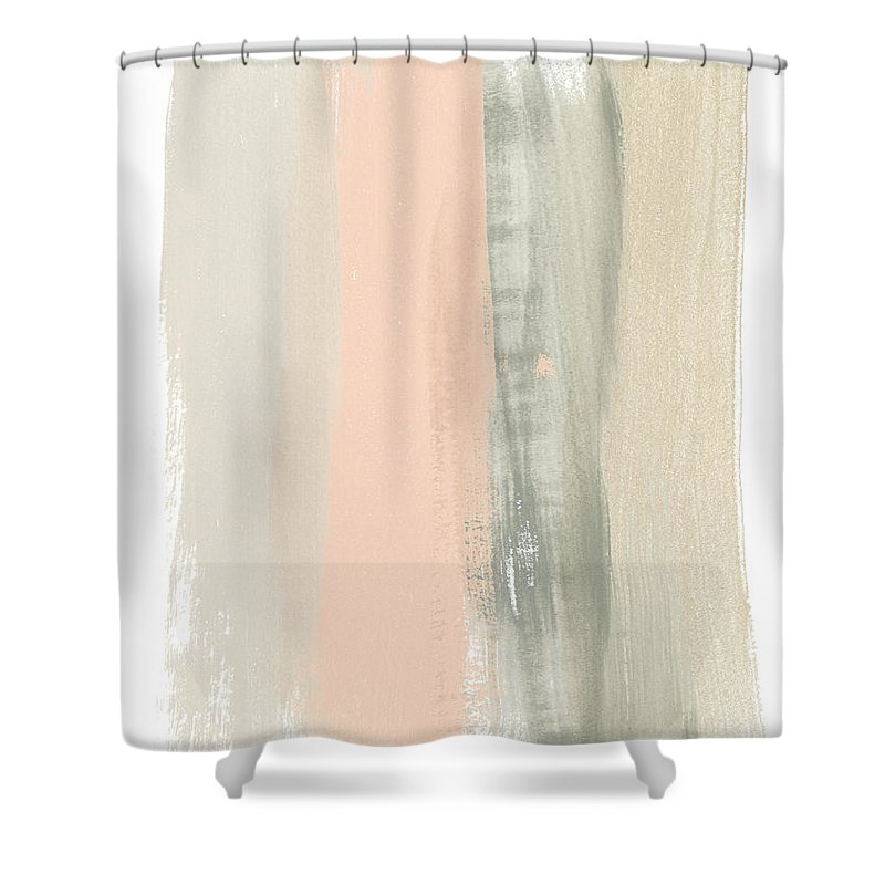 Abstract Shower Curtain featuring the painting Blush Abstract II by June Erica Vess