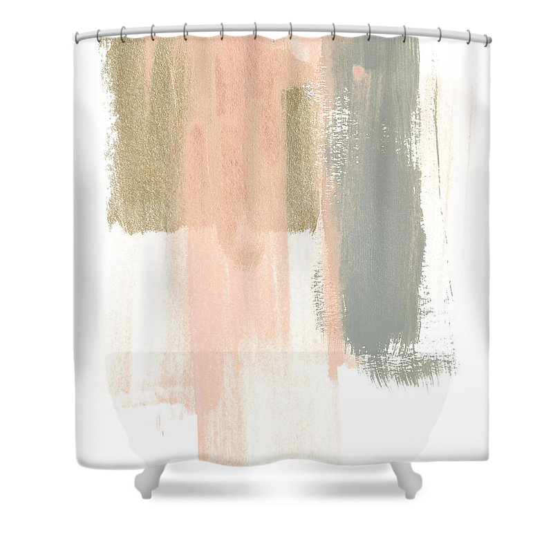 Abstract Shower Curtain featuring the painting Blush Abstract Iv by June Erica Vess
