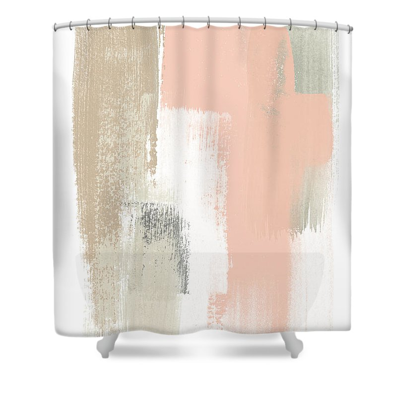 Abstract Shower Curtain featuring the painting Blush Abstract Vi by June Erica Vess
