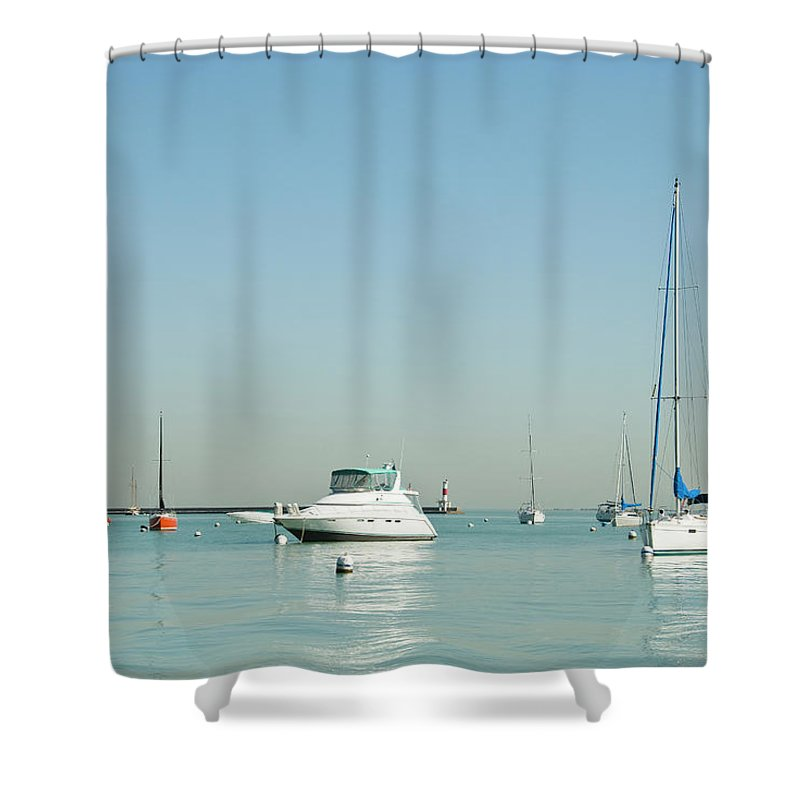 Billabong Shower Curtain featuring the photograph Boats On Lake Michigan by Weible1980