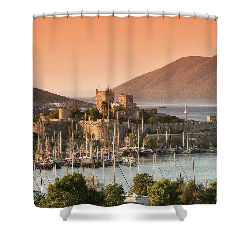 Built Structure Shower Curtain featuring the photograph Bodrum Castle by Izzet Keribar