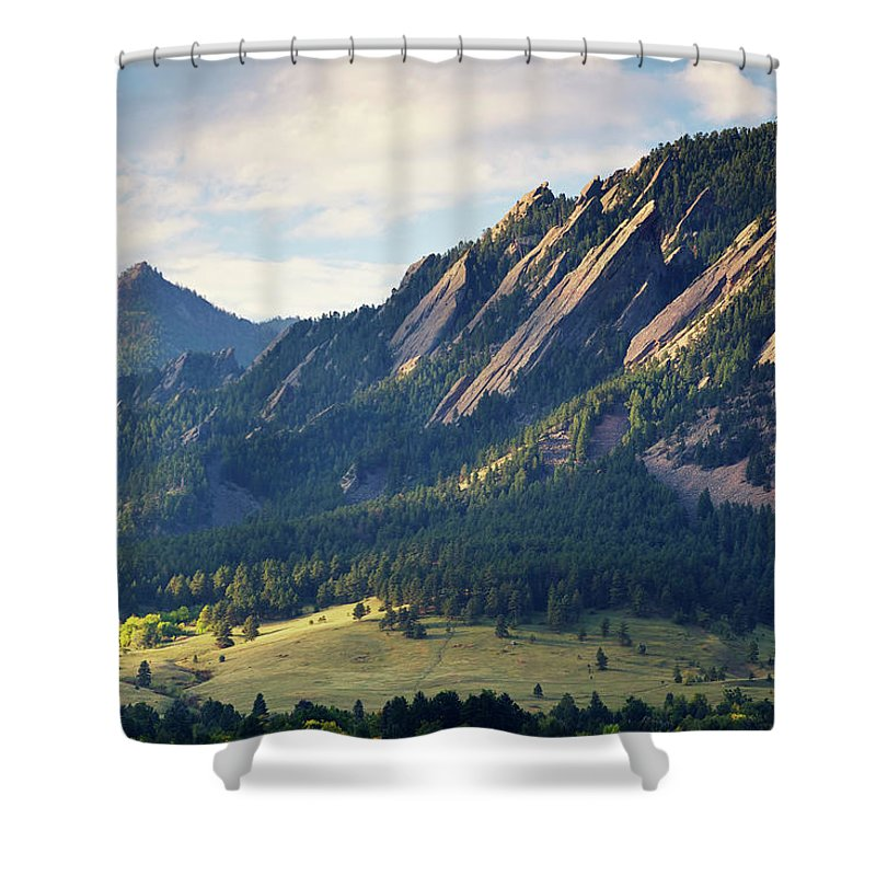 Scenics Shower Curtain featuring the photograph Boulder Colorado Flatirons In Fall by Beklaus