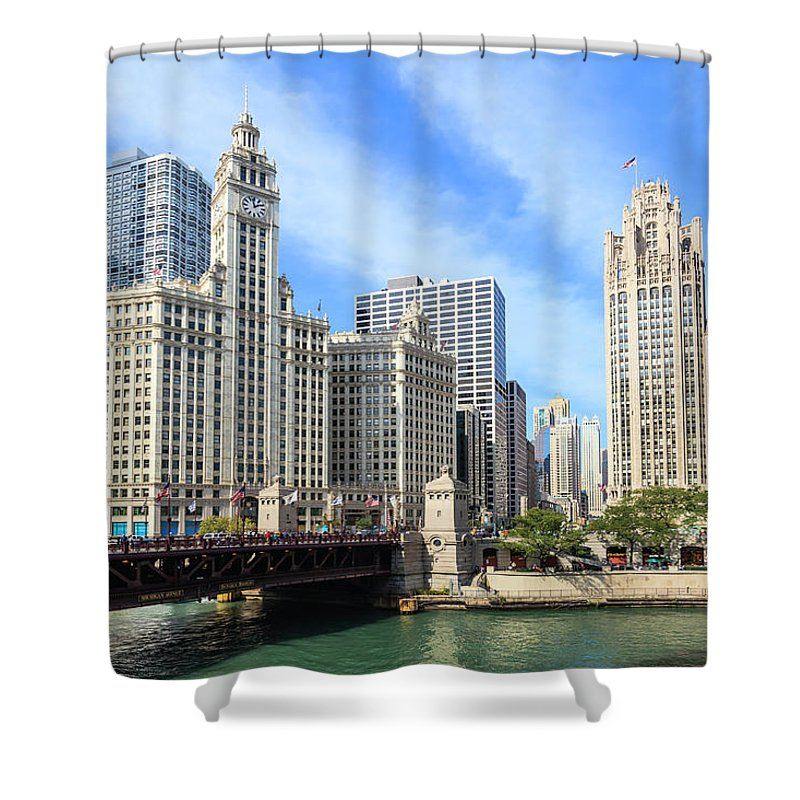 Downtown District Shower Curtain featuring the photograph Buildings By The Chicago River, Chicago by Fraser Hall