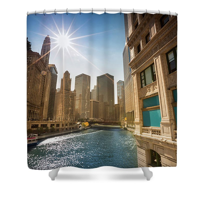 Downtown District Shower Curtain featuring the photograph Chicago Cityscape And River by Pgiam