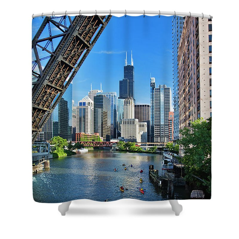Chicago River Shower Curtain featuring the photograph Chicago, Il by Adam Jones
