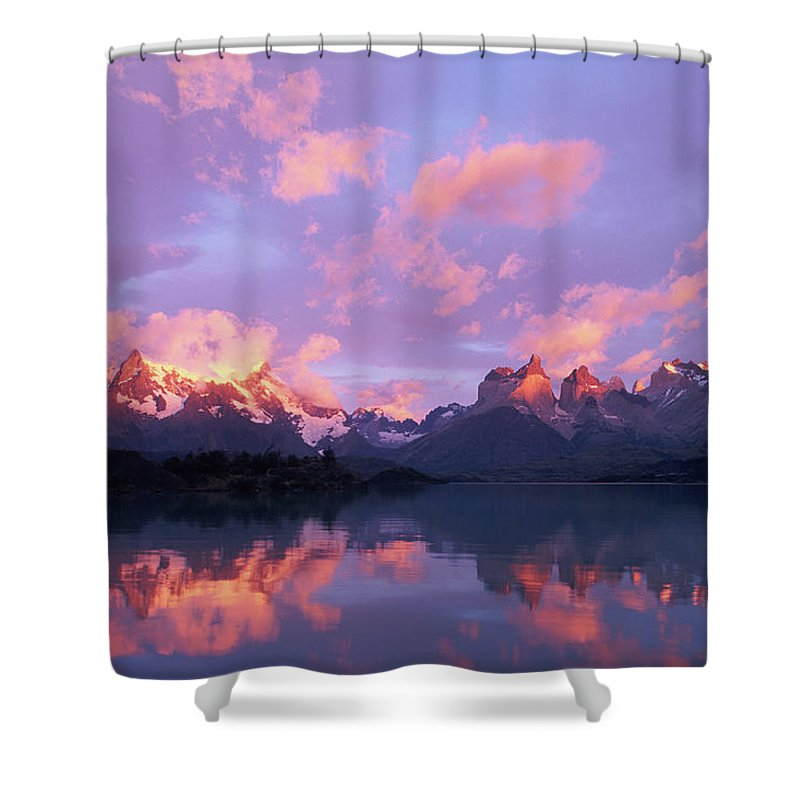 Scenics Shower Curtain featuring the photograph Chile, Patagonia, Torres Del Paine Np by Paul Souders