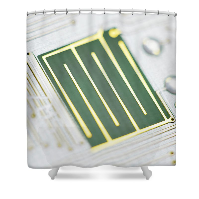 Tin Shower Curtain featuring the photograph Close-up Of A Circuit Board by Nicholas Rigg