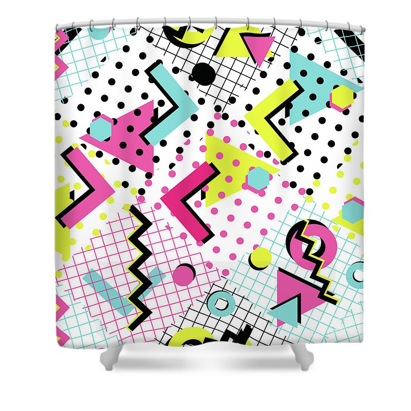 1980-1989 Shower Curtain featuring the digital art Colorful Abstract 80s Style Seamless by Alex bond