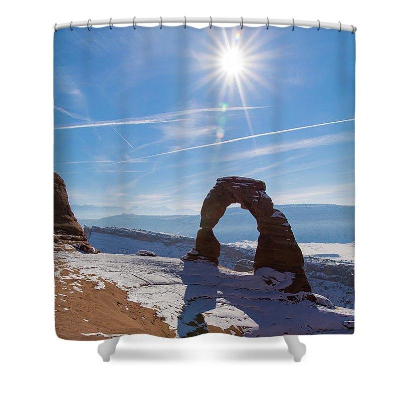 Delicate Arch Shower Curtain featuring the photograph Delicate Arch by Robert VanDerWal