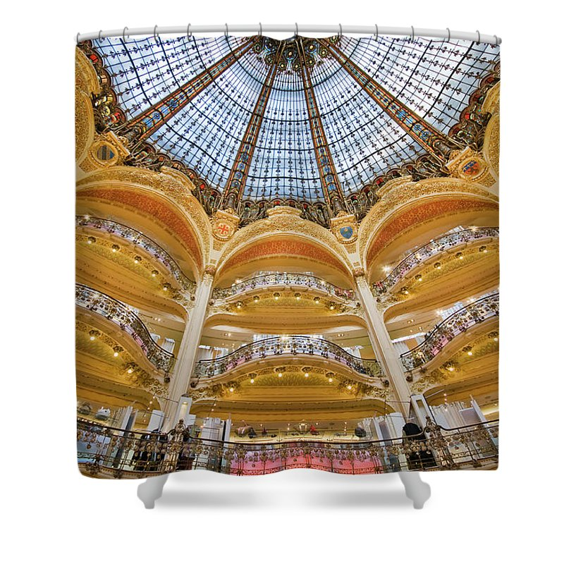 Ile-de-france Shower Curtain featuring the photograph Dome And Balconies Of Galeries by Izzet Keribar