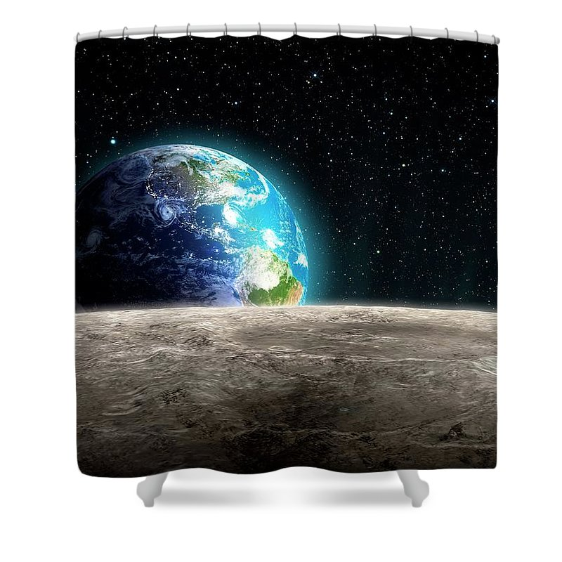Shadow Shower Curtain featuring the digital art Earthrise From The Moon, Artwork by Andrzej Wojcicki