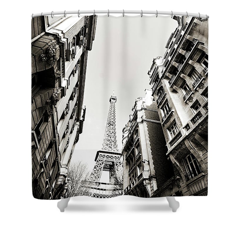 Built Structure Shower Curtain featuring the photograph Eiffel Tower Between Buildings In by Flory