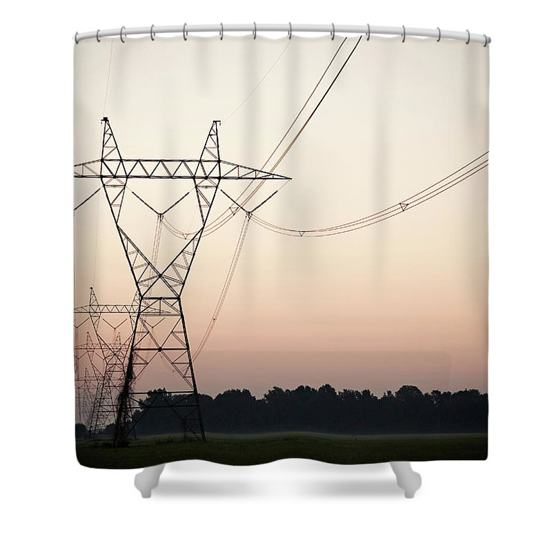 Tranquility Shower Curtain featuring the photograph Electrical Power Lines Against The by Wesley Hitt