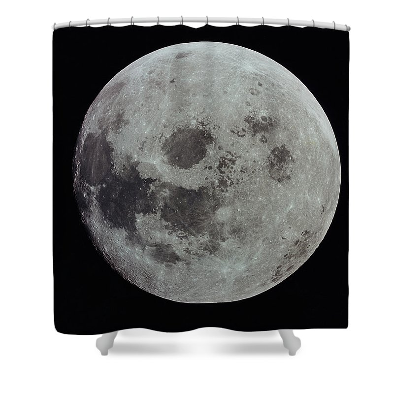 Black Background Shower Curtain featuring the photograph Full Moon by Nasa