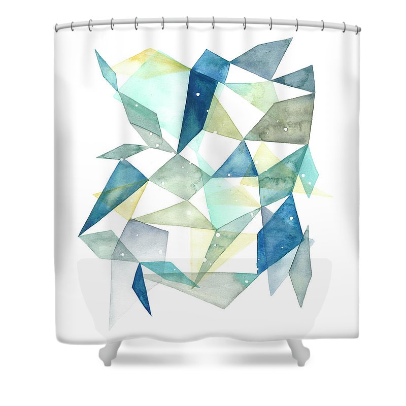 Abstract Shower Curtain featuring the painting Geometric Jewel Abstract I by Grace Popp