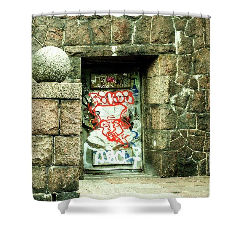 Graffiti Shower Curtain featuring the photograph Graffiti by Jarmo Honkanen