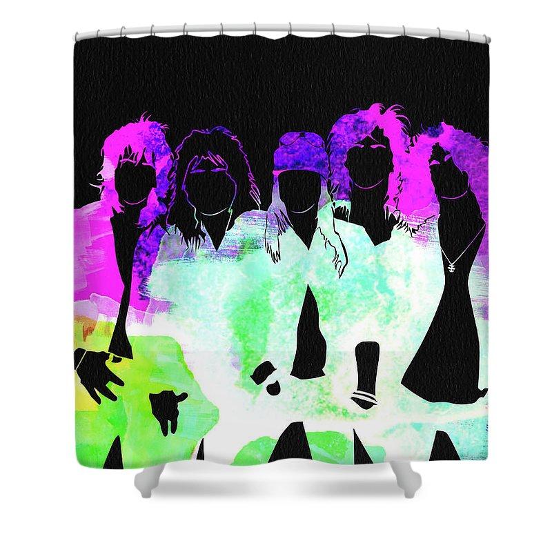 Guns N' Roses Shower Curtain featuring the mixed media Guns N' Roses Watercolor by Naxart Studio
