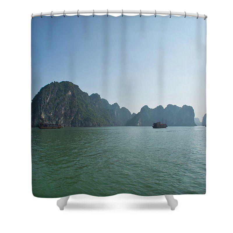 Scenics Shower Curtain featuring the photograph Ha Long Bay by By Thomas Gasienica