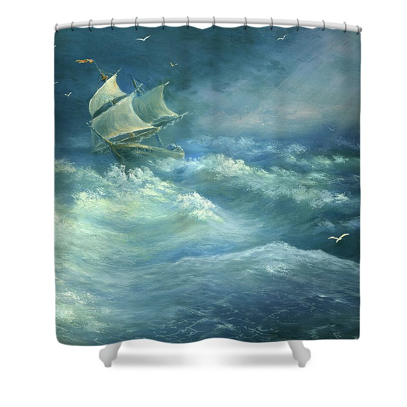 Curve Shower Curtain featuring the digital art Heavy Gale by Pobytov