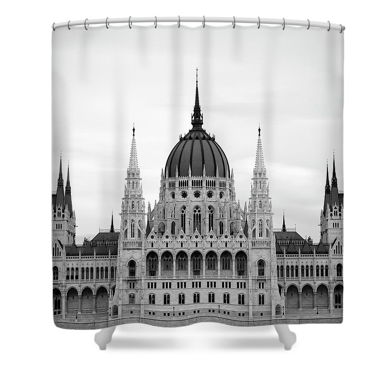 Hungarian Parliament Building Shower Curtain featuring the photograph Hungarian Parliament Building by Alex Holland