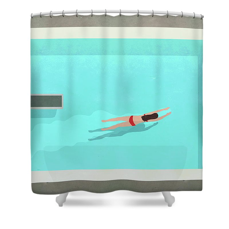Recreational Pursuit Shower Curtain featuring the digital art Illustration Of Woman Swimming In Pool by Malte Mueller