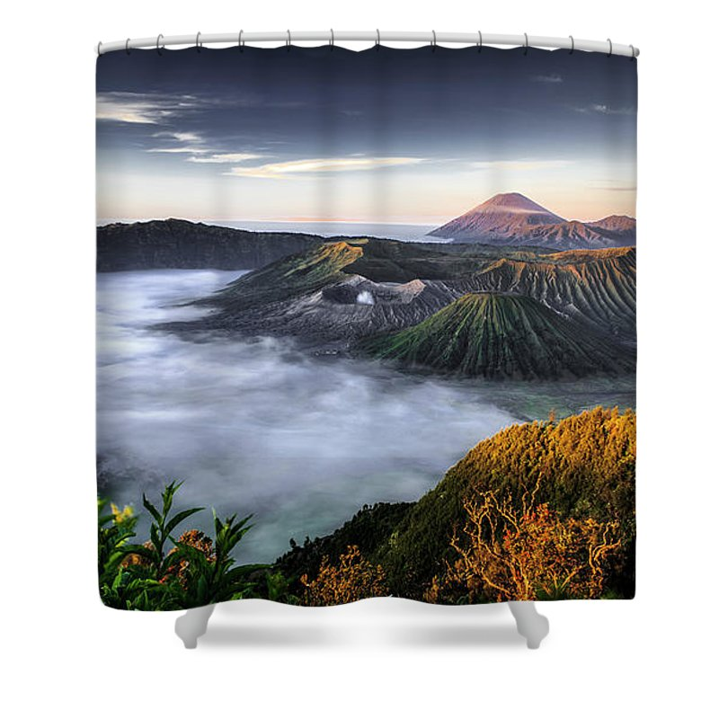 Scenics Shower Curtain featuring the photograph Indonesia Mount Bromo by Frederic Huber Photography