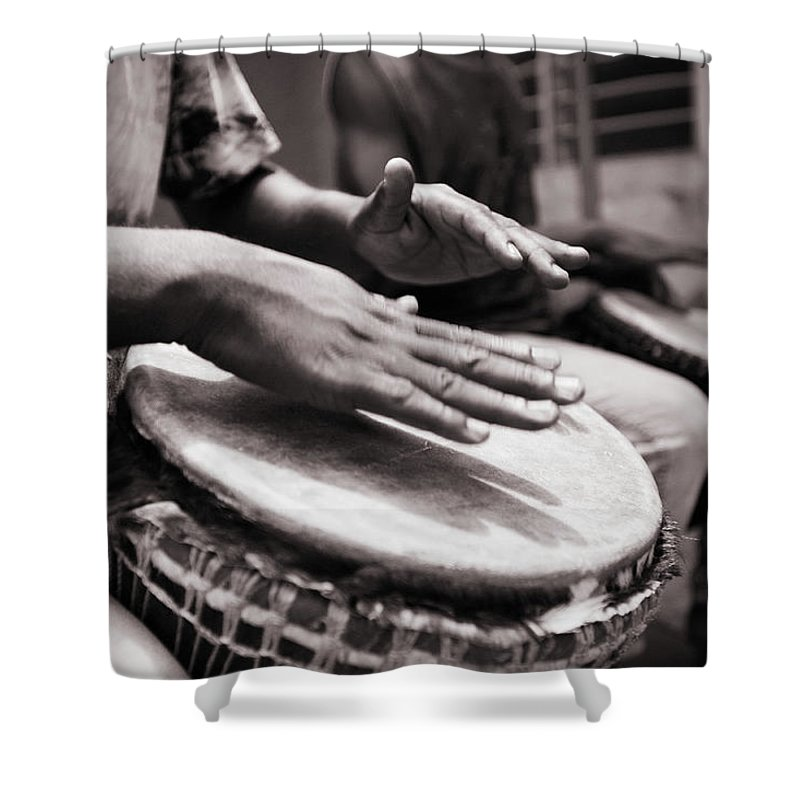 People Shower Curtain featuring the photograph Jembe Players by Peeterv