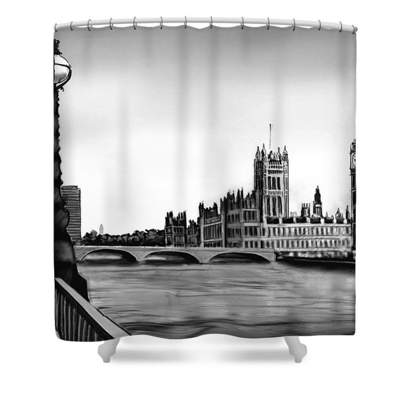Gothic Style Shower Curtain featuring the digital art Liquidlibrary by Jupiterimages