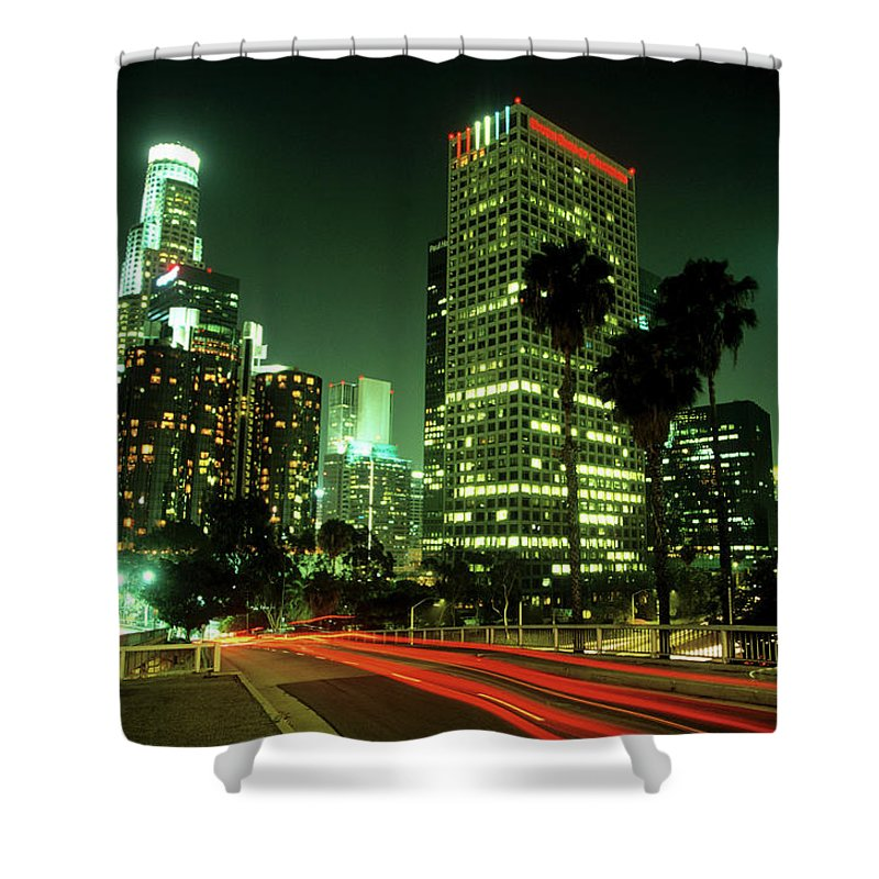 Downtown District Shower Curtain featuring the photograph Los Angeles Skyline At Night by Hisham Ibrahim