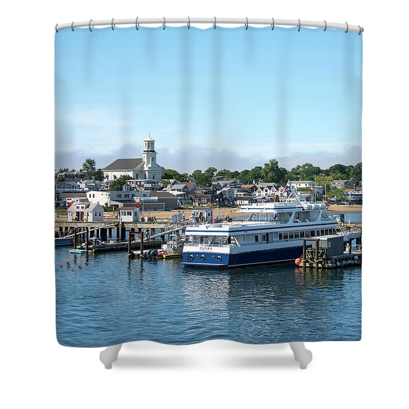Provincetown Massachusetts Shower Curtain featuring the photograph Macmillan Pier And Provincetown Harbor - Massachusetts by Brendan Reals