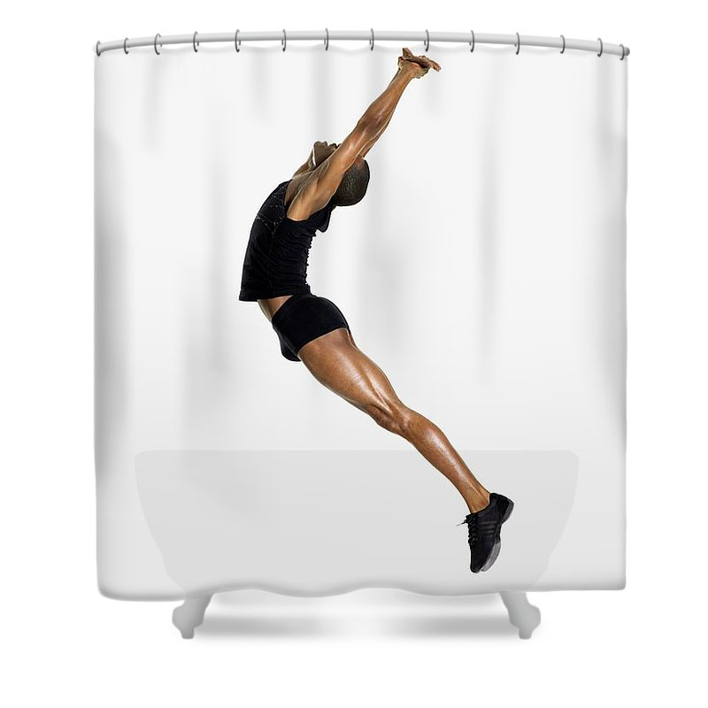 Young Men Shower Curtain featuring the photograph Male Dancer Jumping by Image Source