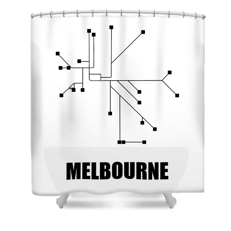Melbourne Shower Curtain featuring the digital art Melbourne White Subway Map by Naxart Studio