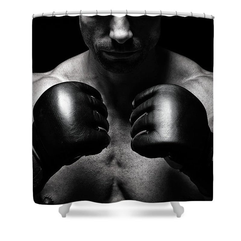 Toughness Shower Curtain featuring the photograph Mma Fighter by Vuk8691