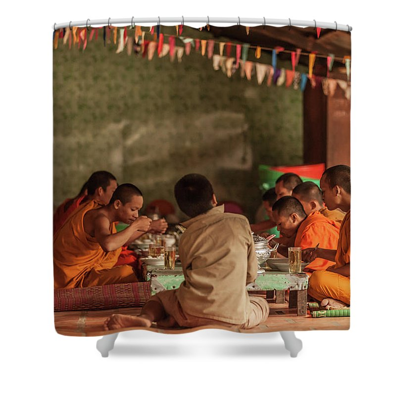 Young Men Shower Curtain featuring the photograph Monks At Breakfast, Wat Monastery by Cultura Rm Exclusive/gary Latham
