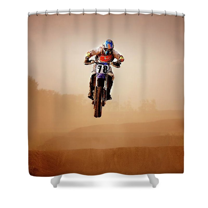 Crash Helmet Shower Curtain featuring the photograph Motocross Rider by Design Pics